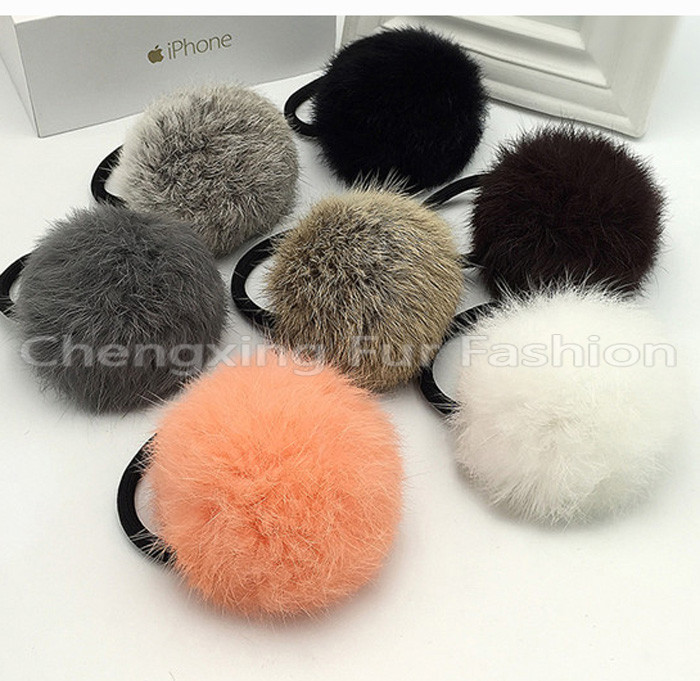 CX-E-12A Genuine Rabbit Fur Ball Elastic Hair Band ~ Mixed Colors