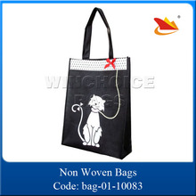 cute cat printed recyclable nylon handle non woven shopping bag