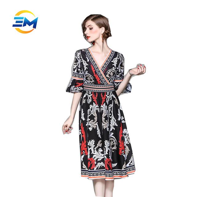 Vintage ladies lotus leaf sleeve deep v neck high waist printing swing dress