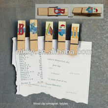 Decorative beach wooden pegs,photo memo clip holder wholesale,clip bookmark with magnet