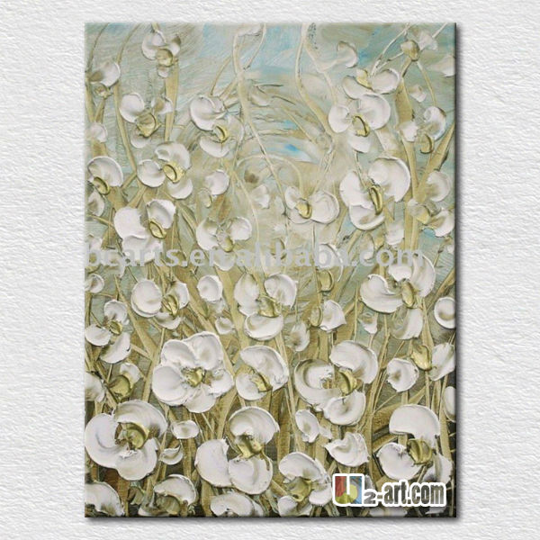 Modern wall <strong>decoration</strong> white flower canvas oil painting