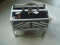 aluminum frame acrylic cosmetic case makeup case with handle and locks