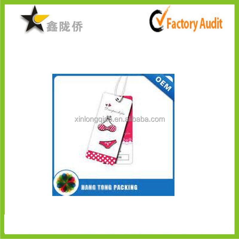 2015 alibaba China cheap custom personalized paper making lingerie hang tag/hang tag for women's underwear