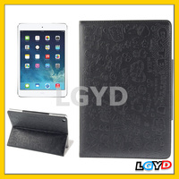 New arrival Magic Girl Pattern Leather Case with 3 Gears Holder for iPad Air (Black)