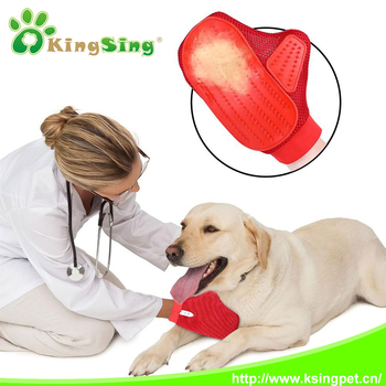 Pet's Grooming Rubber Brush Glove - Perfect for All Coat Types- Hair Remove and Bathing Brush for Dogs, Cats and Horses