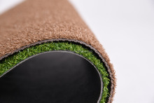 Wrinkle-resistance artificial plastic grass floor mat with PVC backing