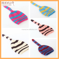 Colorful kids animal tail pattern knitted wool chunky winter beanie hat, adorable strip pattern knitted baby hat