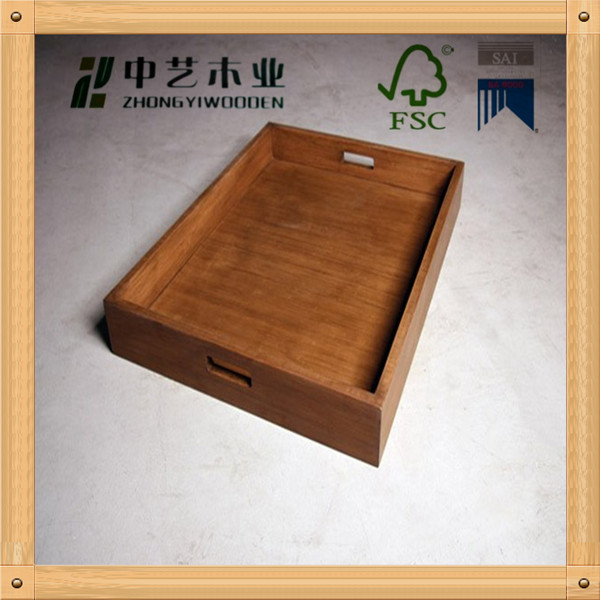 Wholesale FSC Antique homemade disposable wood pine fast food serving tray