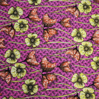 Rose Pink Flowers Good Supplier Popular Higher Quality 100% Cotton African Colourful Print Fabric