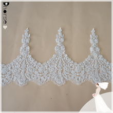 27cm Width/Yard DHBL1659 White Floral Wedding Bridal Lace Trim/Latest Hand Beaded and Embroidery Designs/Dhorse Trimming Lace