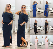 Women Summer dresses solid Long Maxi BOHO Evening Party Dress Natural Pocket Cotton blend women vestidos de fiesta roupa