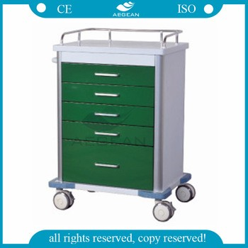 AG-GS001 CE & ISO with four drawers hospital resuscitation trolley