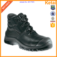 Black embossed leather winter Mine Protecting Boots Manufacturer