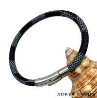 stainless steel magnetic clasp leather cord for jewelry
