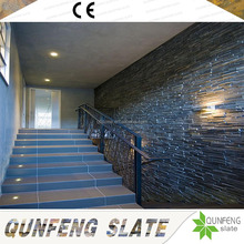Factory Direct Sale Low Price Natural Black Stone Veneer Wall Slate Panel