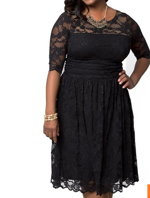 2017 Women's plus size scalloped luna lace dress for L-6XL MOQ150pcs