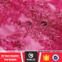 Wholesale cheap peach mesh fabrics french embroidery lace for bridal dress