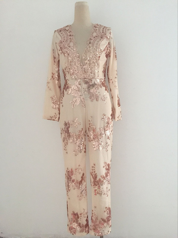 B8250 V-neck long pants sequin lace women jumpsuits