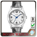 2013 latest luxury men swiss movement geneva quartz watch stainless steel back genuine leather blue diamond glass watch