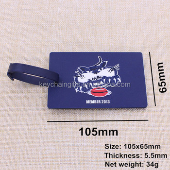 Custom blue airplane luggage tag silicone / baggage tag with tiger logo wholesale