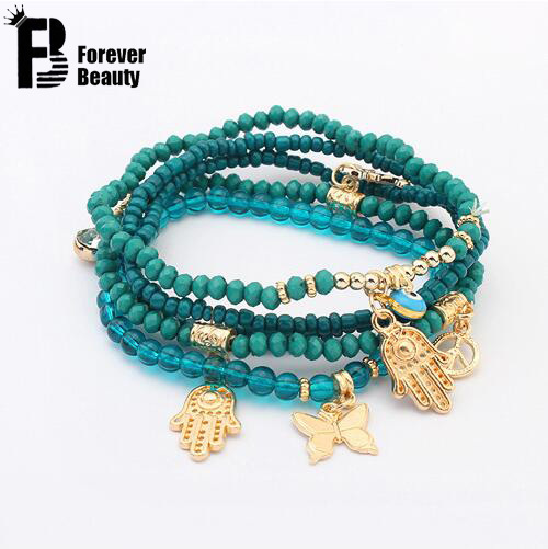 2016 Lucky Kabbalah Fatima Hamsa Hand Blue Evil Eye Charms Bracelets & Bangles Multilayer Beads Turkish Pulseras For Women