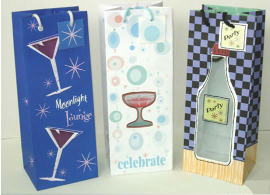 wholesale cheap custom made stylish wine packaging bag/paper bag/gift bag