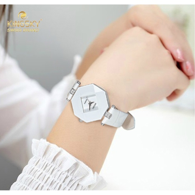 Kingsky Brand Leather Watch Ladies Wrist Watches For Women 2016 Fahion Quartz Clock On The Hand A1268