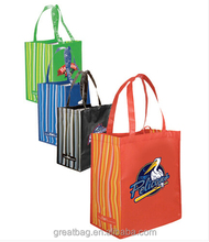 Custom Full Color Striped Tote Bags Laminated Shopping Bags