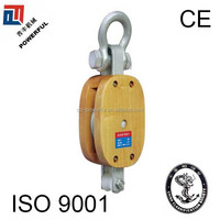 SINGLE WHEEL REGULAR WOODEN BLOCK AND TACKLE WITH SHACKLE
