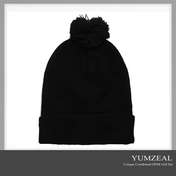 plain black fun custom pompom beanie hat