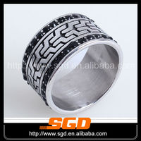Stainless Steel Special Customer Desgin Black Enamel Band Ring