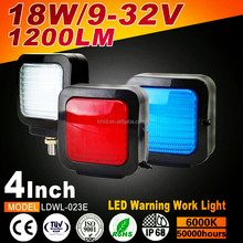 Factory direct sale White Red Blue truck Square 18W LED warning lights safety warning lamp 4inch 1200lm led work light