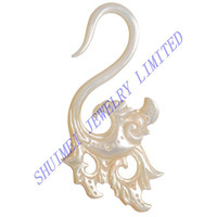 Mother Of Pearl Damsa Flower Hanger Pincher Acrylic Ear Spiral Tapers Plug Stretcher Piercing Body Jewelry
