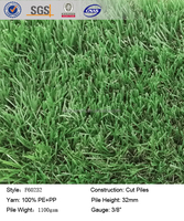 PP and PE artificial turf garden, non-woven backing artificial grass for balcony