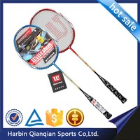 Cheap beautiful badminton racket 2200 A, red and blue, aluminium aii-in-one, strung in pairs, family entertainment