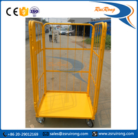 nestable warehouse folding steel roll cage trolley with wheels