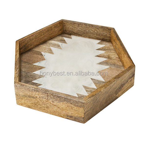 Rustic Home Decor Small Hexagonal Wood Food Tray For Fruit