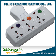 Colshine 10A 250V 3 way electric universal extension/ ABS ecletrical multi socket with 3 isolated switch and 3 light