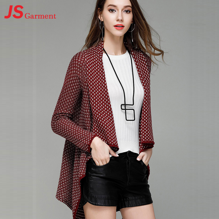 JS 40 Hot Sale Custom Color Long Sleeve Fashion Irregular Cotton Knit Cardigan For Women 0607125