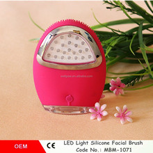 20% Discount !LED Silicone vibrating skin whitening cleansing brush USB charging silicone face brush LED