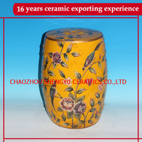 Painting floral and bird yellow ceramic seat stool