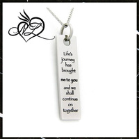 Lifes Journey Inspirational Poesy Jewelry - Life's Journey Pendant Necklace - Stainless Steel Necklace