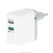 2018 Trending Products EU Plug QC 3.0 Dual USB Quick Charge Travel Charger