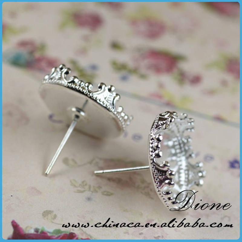 12mm Sterling Silver Plated Earring Posts Ear Studs With Cab Base Bezel Setting