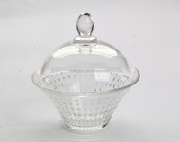 high quality clear glass candy jar / canister with dome lid