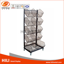 4 Tier hanging basket stand metal wire display rack with wheels