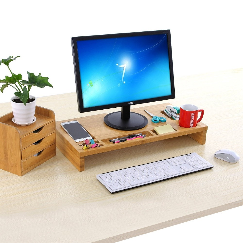 Bamboo Monitor Riser Large Size Laptop TV Printer Desktop Stand Storage Organizer w' Slots for Office Supplies