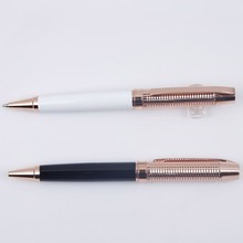 Brush shiny metal ballpoint pen for company gift with logo imprint