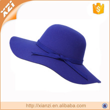 Fashion Wide Brim Polyester Floppy For Ladies Tea Party Hats With Knot