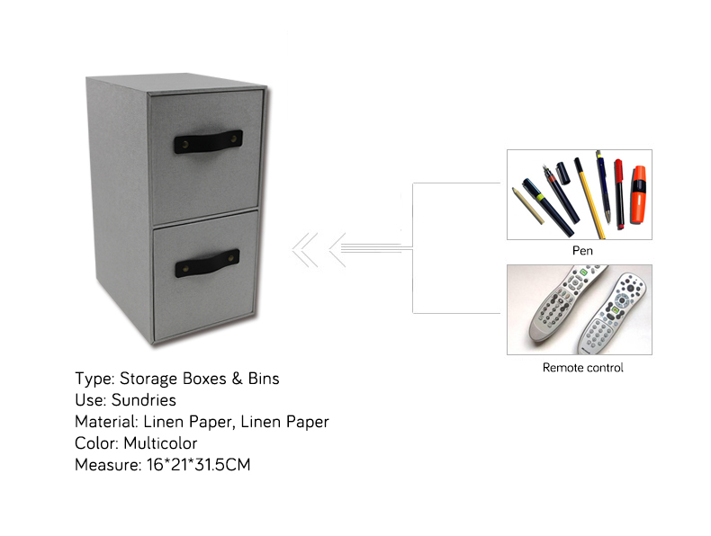 Office Linen Paper CD DVD Storage Two-Drawer Organizer
